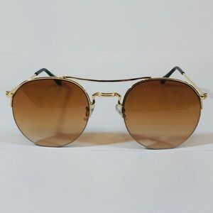 Other - Gold/Brown Semi Rimless Circle Sunglasses